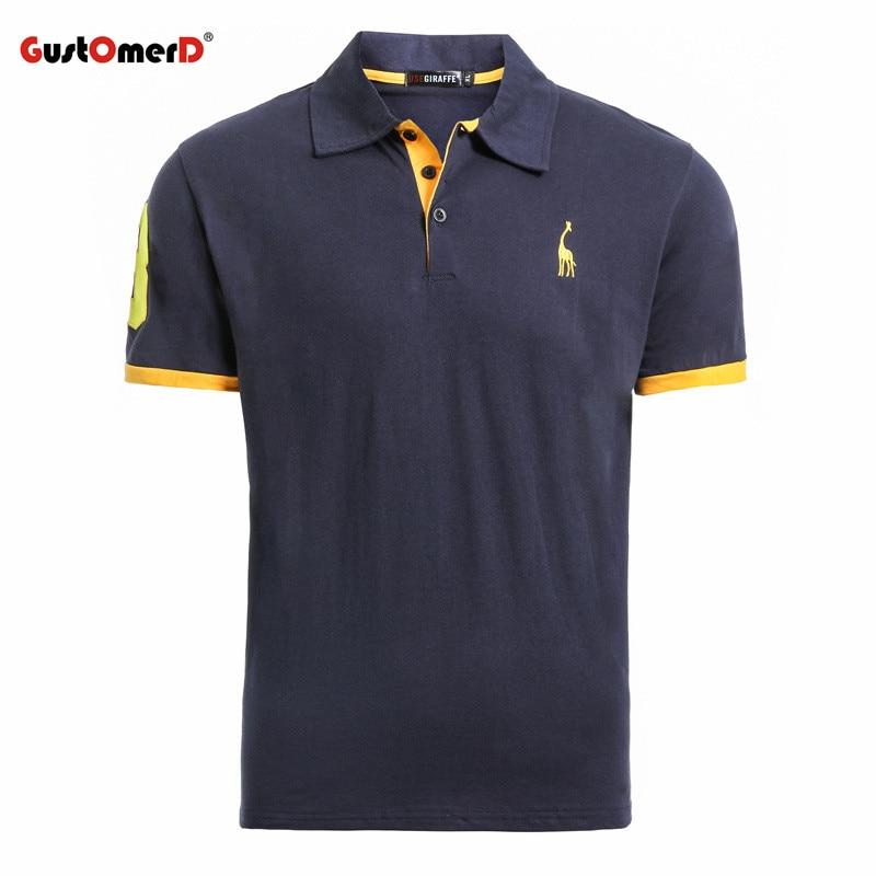 GustOmerD Sommer 100% Baumwolle Polo Shirt Männer Kurzarm Lässige Herren Shirts Camisa Polo Giraffe Weiche Gefühl Qualität Herren Polos