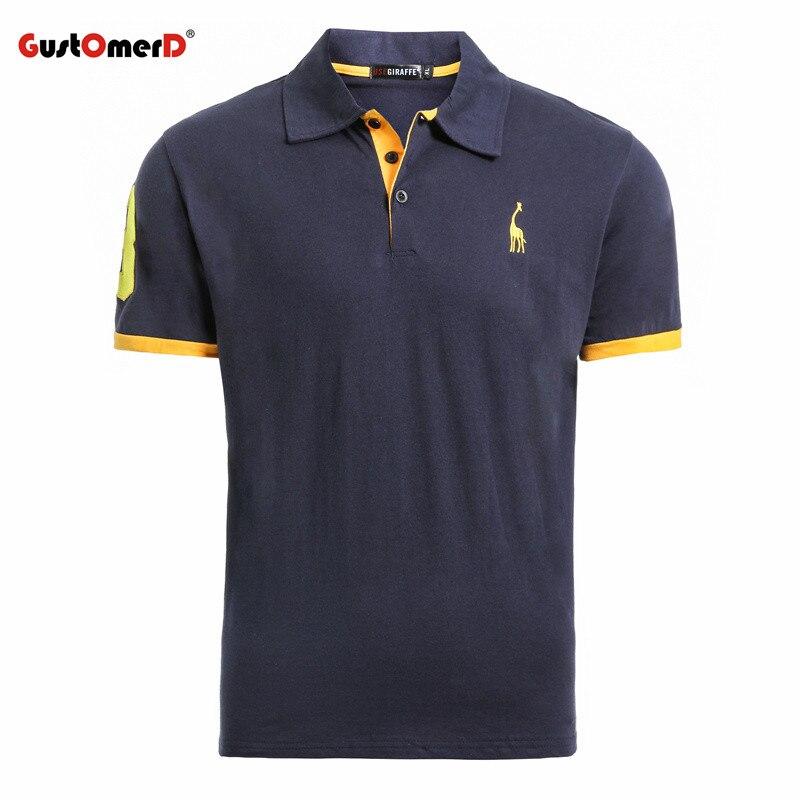 GustOmerD verano 100% algodón Polo Camisa hombres manga corta Casual hombres camisas Camisa Polo jirafa suave sensación calidad hombres Polos