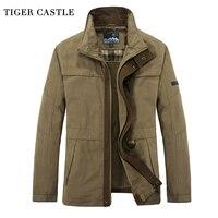 TIGER CASTLE Men S Overcoat Casual Cotton Male Spring Autumn Military Jacaket 4XL Plus Size Men