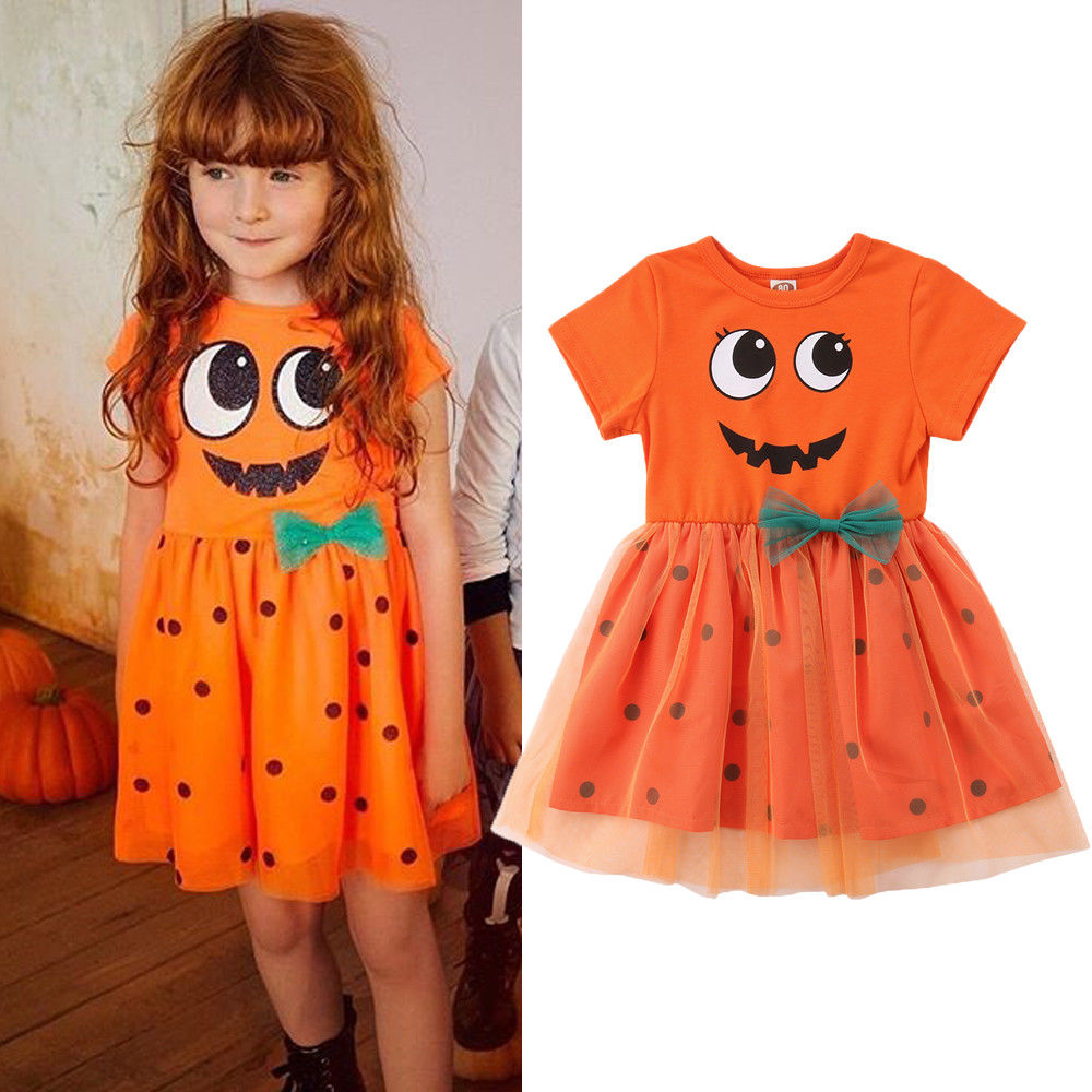 Baby Girl Halloween Costumes Pumpkin Smiles Short Sleeve Polka Dot Tutu Dress Outfits 0-5 Years gathered sleeve polka dot top