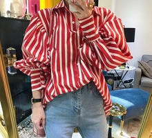 Free Shipping Vintage White Red Striped Loose Blouse Button 2017 spring new Korean fashion sweet retro lovely puff sleeves
