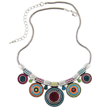 2016New Choker Necklace Fashion Ethnic Collares Vintage Silver Plated Colorful Bead Pendant Statement Necklace For Women Jewelry