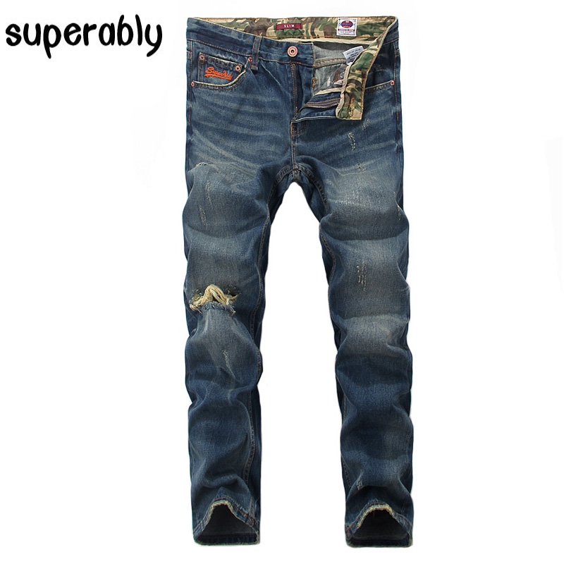 Superably Brand Mens Jeans Slim Fit Destroyed Ripped Jeans Men High Quality Blue Color Washing Denim Stripe Jeans Casual Pants classic mid stripe men s buttons jeans ripped slim fit denim pants male high quality vintage brand clothing moto jeans men rl617