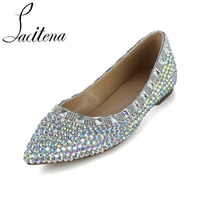 Glass Diamond Color Crystal Pearl Shoes Pearl Shoes Women's Pearl Shoes Women's Crystal Shoes
