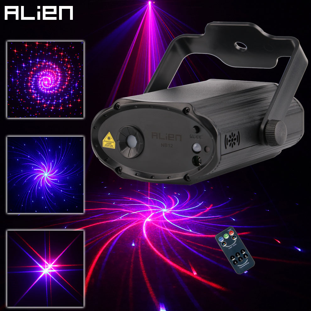 ALIEN Red Blue 12 Patterns Laser Stage Lighting Effect Remote DJ Disco Party Dance Holiday Xmas Sound Activated Laser Lights alien mini rg 18 patterns remote laser stage lighting effect dj disco party dance holiday xmas led blue laser projector light