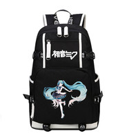 Top Quality 2017 New VOCALOID Hatsune Miku Printing Backpack Large Capacity Kawaii Women School Bags Canvas
