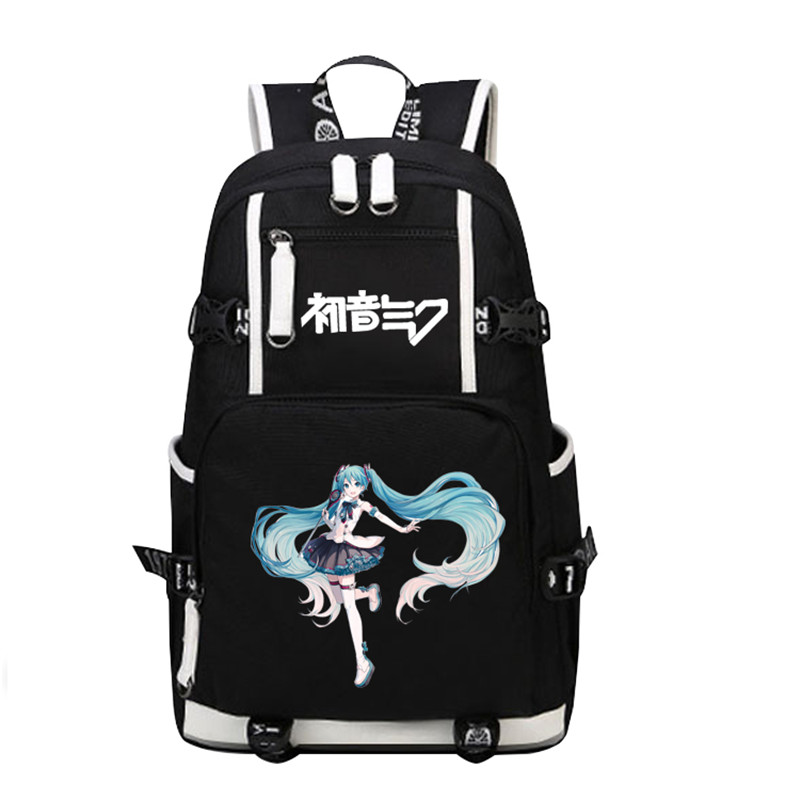 Top Quality 2017 New VOCALOID Hatsune Miku Printing Backpack Large Capacity Kawaii Women School Bags Canvas Laptop Backpack 2017 new vocaloid hatsune miku luminous backpack cosplay anime student school bag bookbag travel shoulder laptop bags packsack