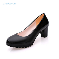 2017 New AutumnWaterproof Taiwan The Shallow Mouth Round Head High Heels Single Shoes OL Women S