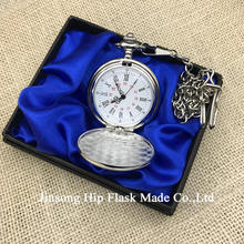 Dia 4.5cm Plain Chrome Pocket Watch with gift box packing BLACK / SLIVER / GOLDEN /BRONZE
