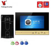 YobangSecurity 7 Inch Video Door Phone Doorbell Camera Intercom System With Video Recording Photo Taking RFID