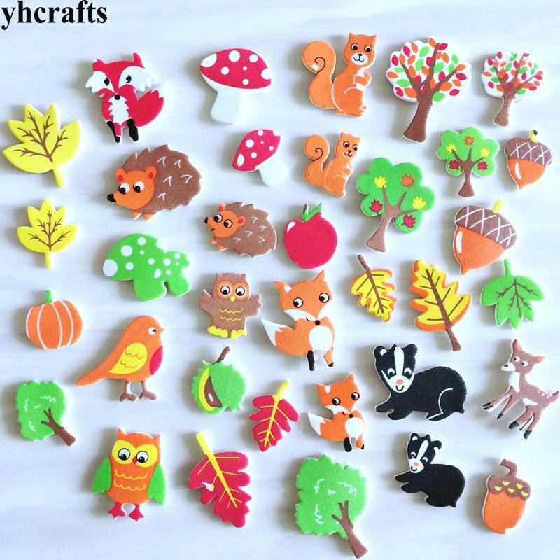 1bag/LOT.Autumn Harvest  Squirrel Bird Fox Hedgehog Owl Foam Stickers Autumn Leaf Crafts Activity Items Kids Room Ornament OEM