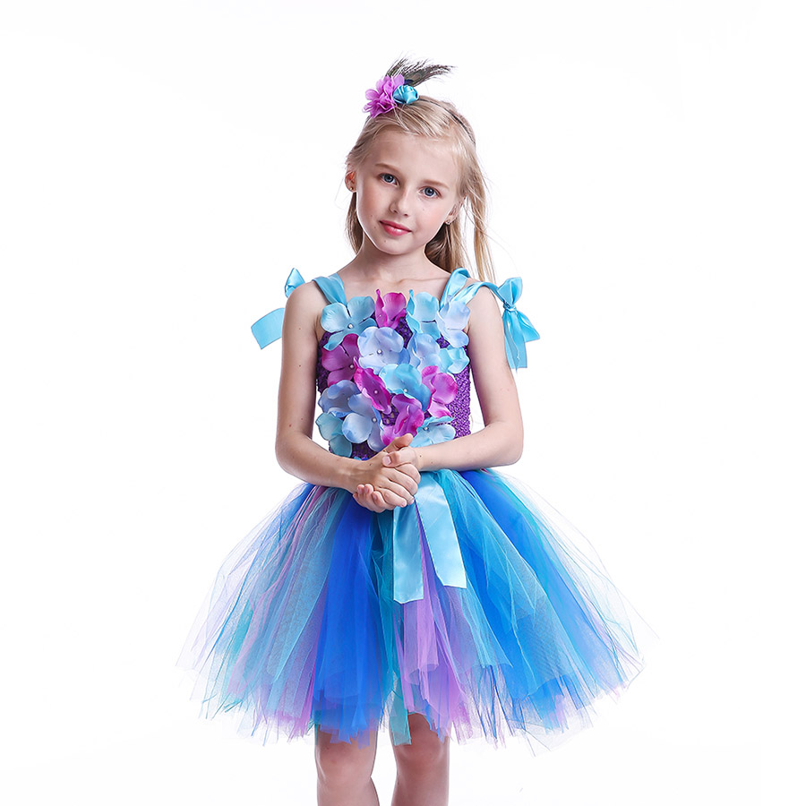 Girls Princess Peacock Flower Tutu Dress Children Handmade Purple and Blue Tulle (7)