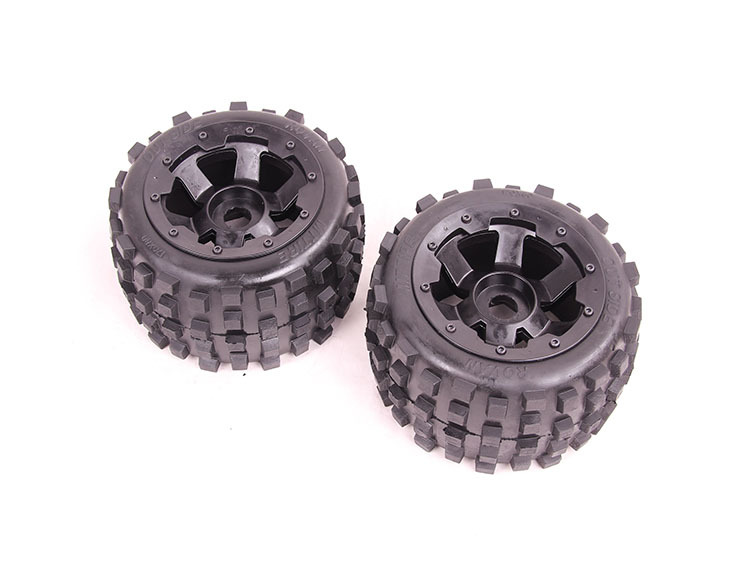 BadLand tyres 2 pcs of baja 5b 85038 1/5 Scale RC KM Rovan HPI Baja 5B Buggy Knobby Rear Wheels and Tires 2 pcs fee shipping rovan gas baja 30 5cc 4 bolt chrome engine with walbro carb and ngk spark plug for 1 5 scale hpi km losi rc car parts