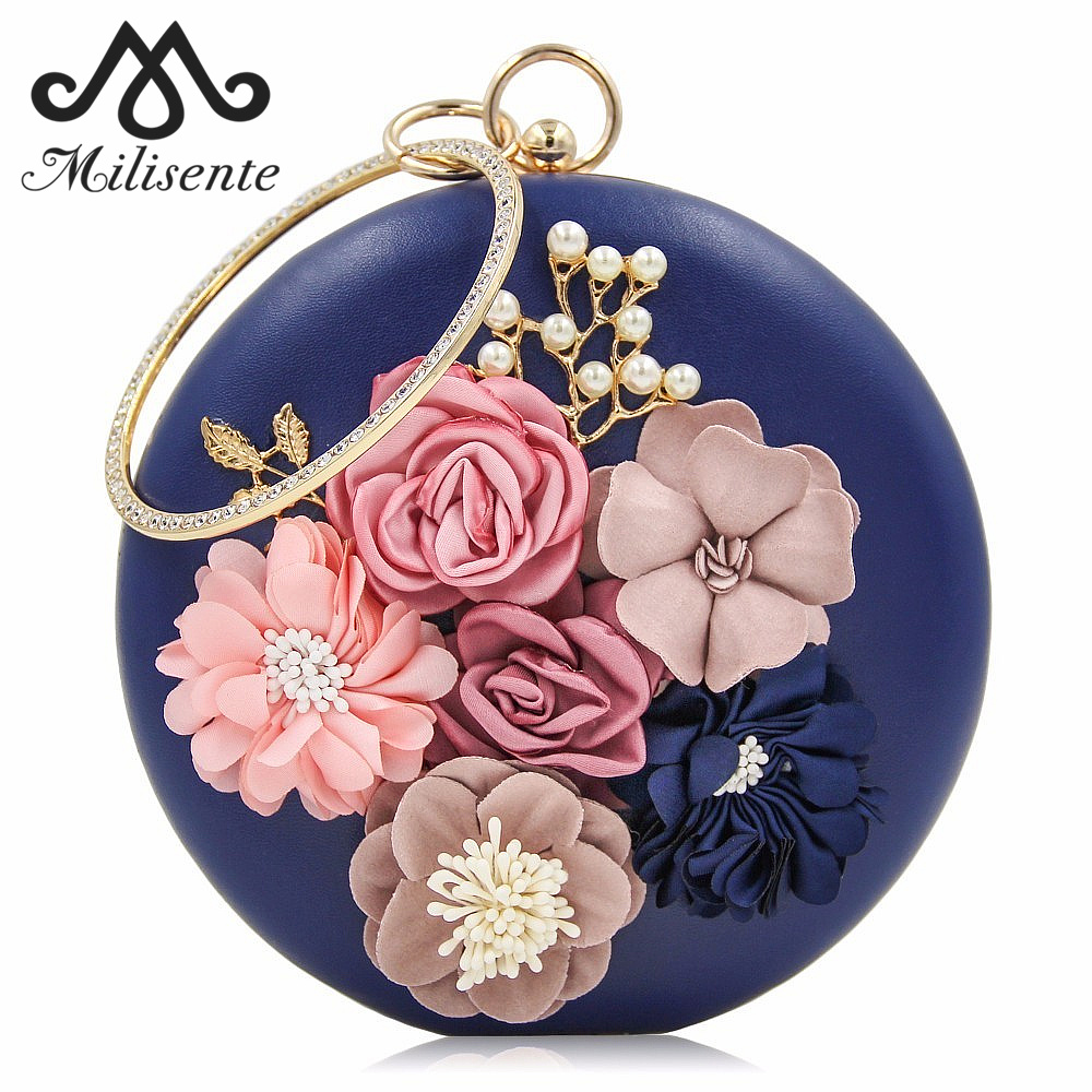 Milisente Wanita Evening Clutch Round Bag Luxury Crystal Circle Design Ladies Handbag Flower Wedding Purse Female Shoulder Bag