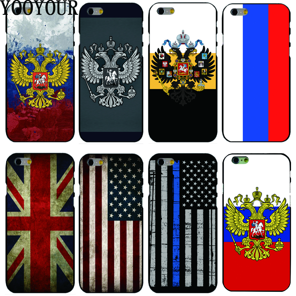 Yooyour Russian Flag USA UK Flag hard plastic Cover Case