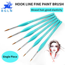 BGLN 1Pcs Weasel Hair Hook Line Fine Paint Brush Set Artist Gouche Watercolor Acrylic Oil Painting Brush Artist Supplies