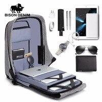 BISON DENIM USB Charge Anti Thief Backpack Men Leisure Travel Backpack School Bags Teenager Male 15