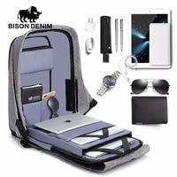 BISON DENIM USB Charge Anti Thief Backpack Men Mochila Leisure Travel Backpack School Bags Teenager Male