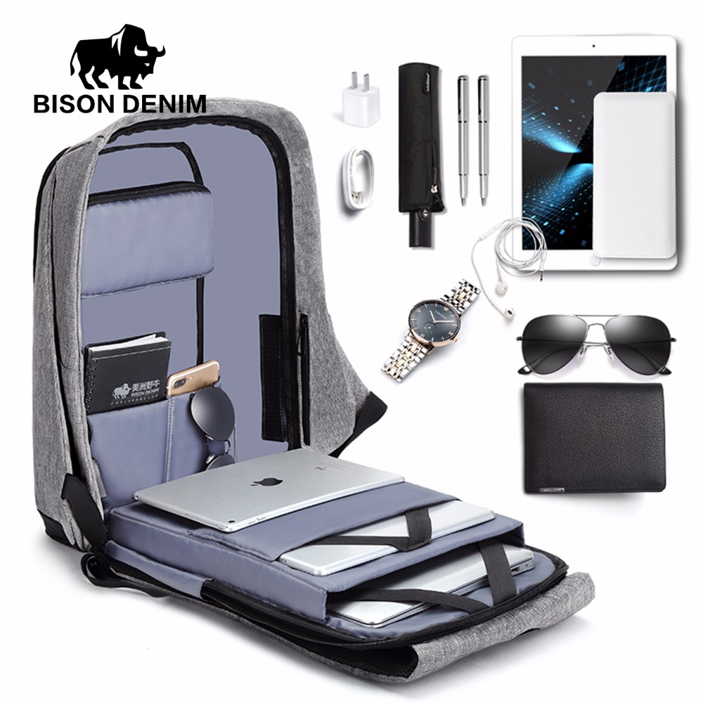 BISON DENIM USB Charge Anti Thief Backpack Men Leisure Travel backpack School Bags Teenager Male 15 inch Laptop Backpack N2714 8848 backpack women s daypack stylish laptop backpack school bags men anti thief design waterproof travel backpack 132 028 011