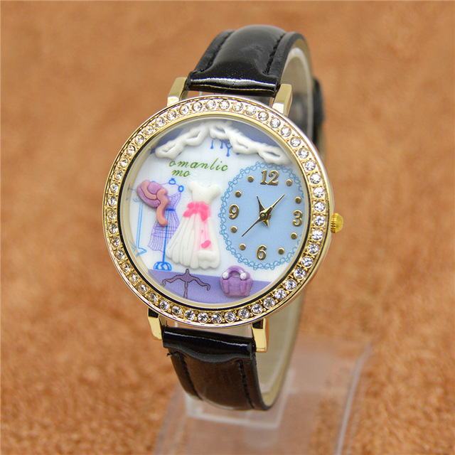 polymer clay bear cat dog beetle chocolate girl students watch European and American fashion watches watches English furniture