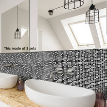 Funlife Tile Sticker Waterproof Bathroom Kitchen Wall Stickers Self Adhesive Mosaic Marble Morroco Backsplash Tiles Brick Decor