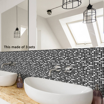 Funlife Tile Sticker Waterproof Bathroom Kitchen Wall Stickers Self Adhesive Mosaic Marble Morroco Backsplash Tiles Brick Decor funlife self adhesive floor tiles sticker waterproof bathroom kitchen decor anti skid modern floor stickers for entrance tile