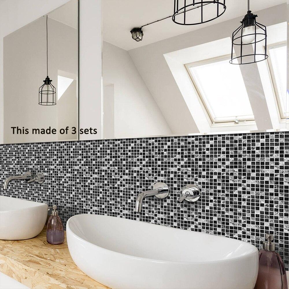 Funlife karosu Sticker su geçirmez banyo mutfak duvar çıkartmaları kendinden yapışkanlı mozaik mermer fas Backsplash fayans tuğla dekor