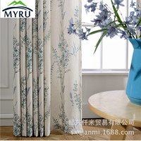 MYRU New American pastoral style blue flowers printed fresh curtains semi shade cloth curtain for bedroom and living room