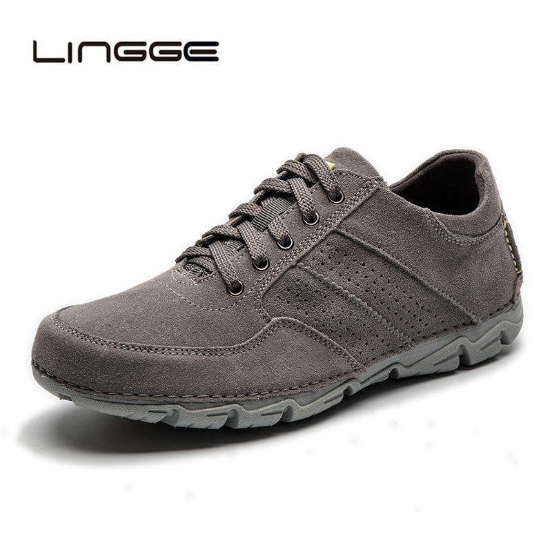 LINGGE hommes chaussures décontractées automne hommes chaussures à lacets en cuir daim pour hommes nouvelles chaussures plates hommes baskets