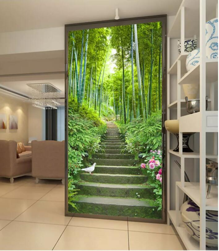 3d room wallpaper on the wall custom mural Bamboo forest stairs scenery porch Home improvement photo wallpaper for walls 3 d