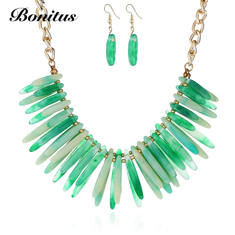 [Bonitus Jewelry ]New Arrival Fashion Statement Choker Necklace+Earring High-Polished Lucite Plastic For Women HOT 09S2029