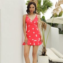 New Women's Dress Sexy Cherry Printed Suspender A Line Elegant  Ruffles Spaghetti Strap Ladies Comfort Clothing