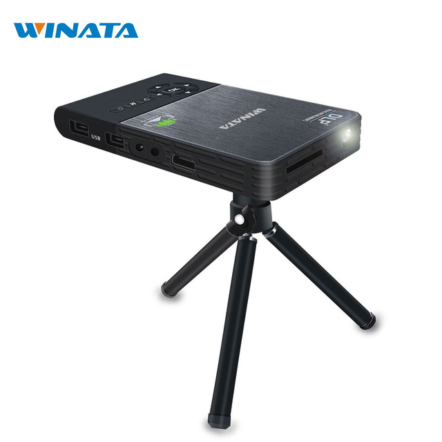 WINATA DLP Mini Projector WiFi HDMI/USB Beamer Smart Projector Full HD Android Bluetooth Proyector Build in 5000mah Battery(16G)