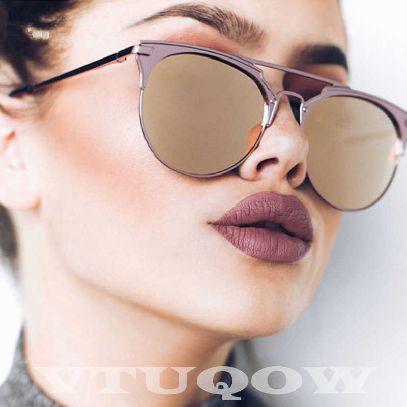 High Quality Cat Eye Sunglasses Women Brand Designer 2020 Pink Mirror Retro Sunglass Female Sun Glasses For Women UV400 ray bann