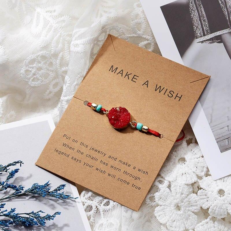 Для женщин браслеты на удачу бисера красная строка натуральный камень ткань браслеты мужчин ручной работы интимные аксессуары с карты - Окраска металла: red