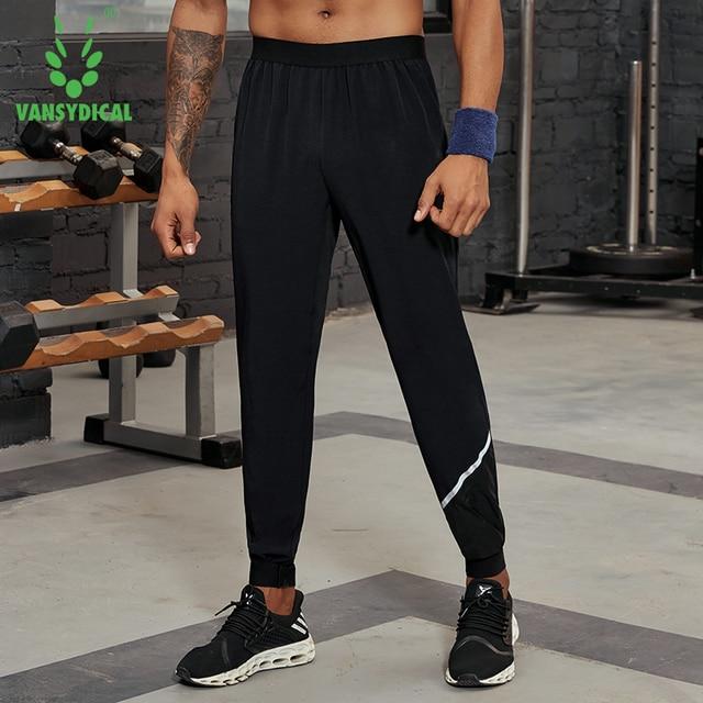 Vansydical 2019 Men's Running Trousers Loose Thin Basketball Training Pants Reflective Fitness Jogger Sweatpants