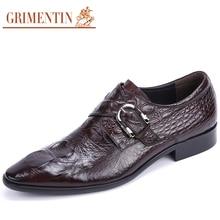 GRIMENTIN Men Dress Shoes Luxury Brand Genuine Leather Black Brown Crocodile Italian Designer Mens Wedding Shoes Size38-44 Z45