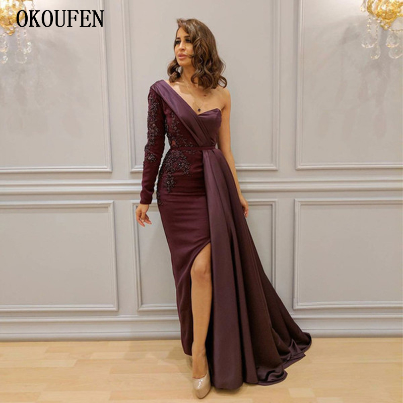 Single Sleeve   Prom     Dresses   2019 Burgundy Dubai Saudi Arabic   Prom   Evening Gowns Split vestidos de fiesta largos elegantes de gala