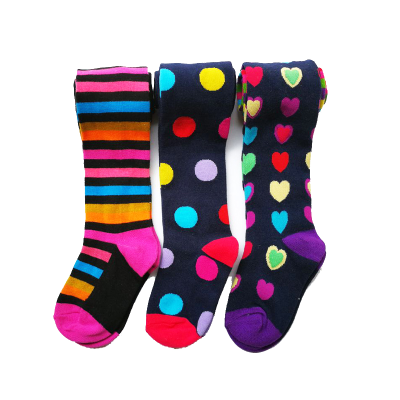 3 Pcs Pack Baby Girl Autumn Winter Striped Tights Children Pantyhose Stockings Girls Knee High Flower Kids Girl Tights