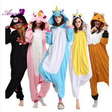 Flannel Onesies Unicorn Pikachu Adult Winter Flannel Warm Pajamas women and men Animal pajamas Sleepwear