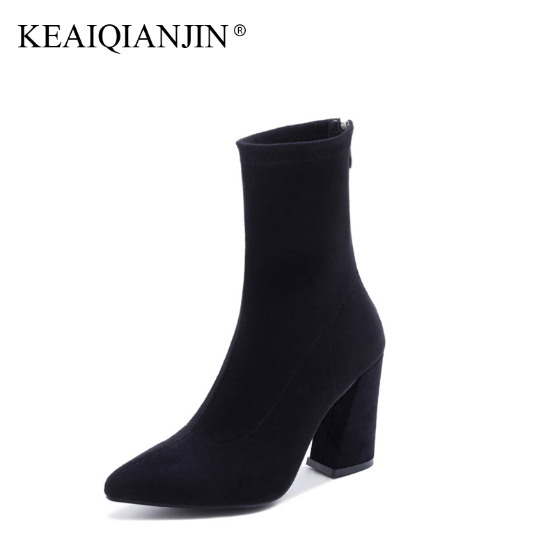 KEAIQIANJIN Woman High Heel Boots Spring Autumn Plus Size 33 - 40 Black Ankle Boots Pointed Toe Genuine Leather Martens Boots