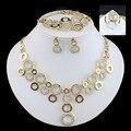16 Люкс Комплект Ювелирных Изделий гламур женщины позолоченные гальваническим браслет кольцо Круг Ожерелье Серьги летнее платье аксессуары оптом