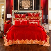 Luxury Red Wedding Long Staple Cotton Embroidery Bedding Set Duvet Cover Bed Linen Bed Sheet Pillowcase
