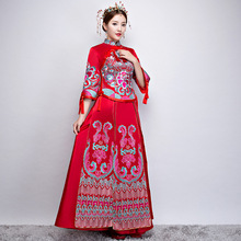 Traditional Chinese Wedding Dress Woman Long Modern Cheongsam Vintage Qipao Red Oriental Party Dresses Wholesale Robe Rouge