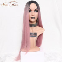 Suri Hair Long Straight Ombre Pink Heat Resistant Synthetic Two Tone Wigs For Women 30 Inch