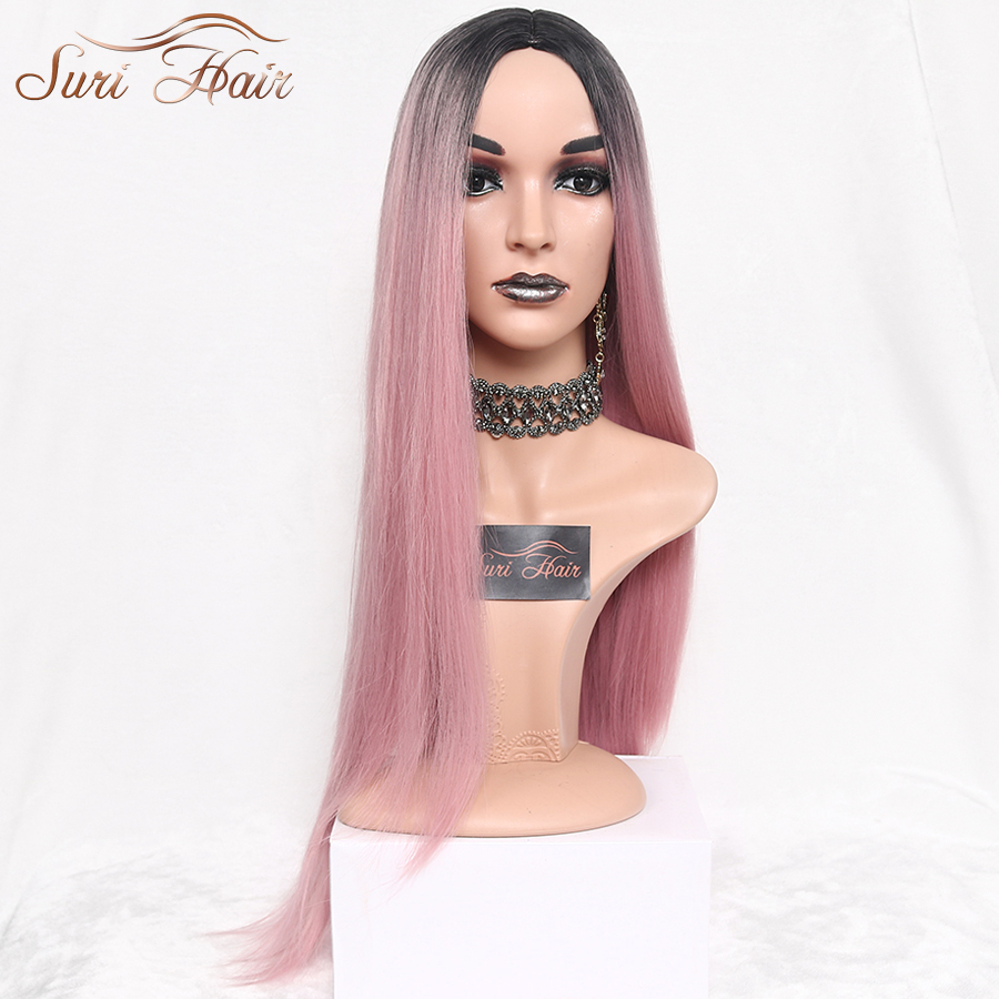 Suri Hair Long Straight Ombre Pink Heat Resistant Synthetic Two Tone <font><b>Wigs</b></font> For Women 30 inch Black Brown Blue hairpiece 7 colors