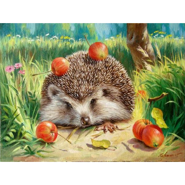 Frameless Hedgehog DIY Painting By Numbers Kits Hand Painted Pictures Digital Oil Painting On Canvas Home Decor For Wall Artwork