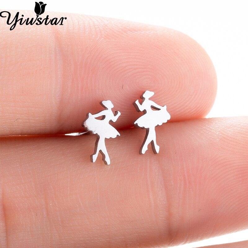 Yiustar Cute Tiny Ballet Earrings for Women Girls Kids Jewelry Romantic Stainless Steel Stud Earrings Elegant Fancy Ear Studs