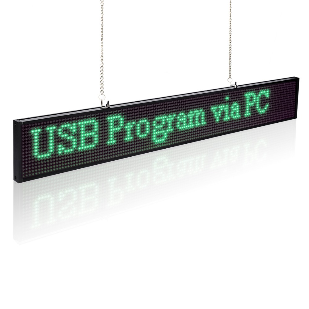 цена New 20inch Green Color P5 Led Display Module 96*16 Pixel Ulthra Thin P5 SMD Store Business Led Display Board Signs
