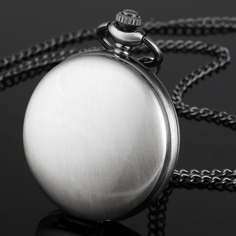 Retro Gray Smooth Case Steampunk Quartz Analog Pocket Watch Necklace Pendant Simple Full Hunter Men's Women's Clock Hour Gifts